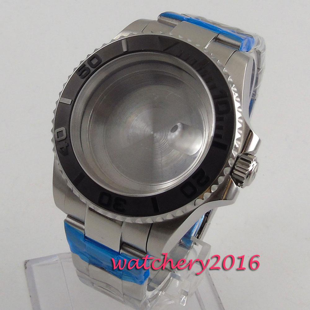 купить 40mm Sapphire Glass ceramic bezel Date Watch Case fit ETA 2824 2836 Movement по цене 5205.89 рублей