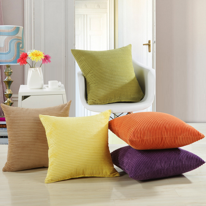 solid colors comfortable corduroy cushion covers for sofa