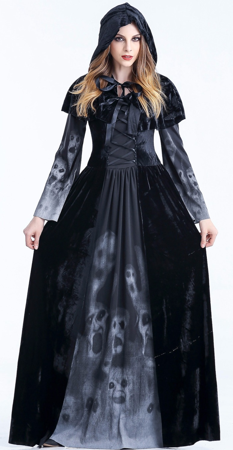 Halloween witch long Dress adult female Sexy Cosplay zombie costume Scarey skeleton fantasia infantil renaissance dresses women