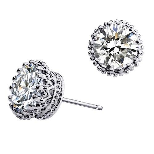 Fashion 10mm Clear Shinning Round Austria Cubic Zirconia Small Silver Stud Earrings Women Men Jewelry - Yiwu JCK Co.,Ltd store