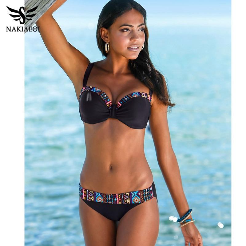 12e52cf95795 Nakiaaoi 2019 nueva llegada Sexy Bikinis mujeres traje de baño Push Up  traje de baño estampado Patchwork Bikini Set playa trajes de baño natación  ...