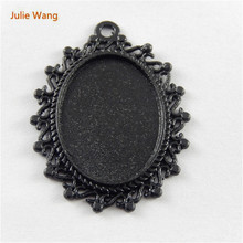 Julie Wang 5 PCs Mini Charms Alloy Black Settings Base Fit Oval 25*18mm Cabochon Stone Jewelry Making Pendant Charm