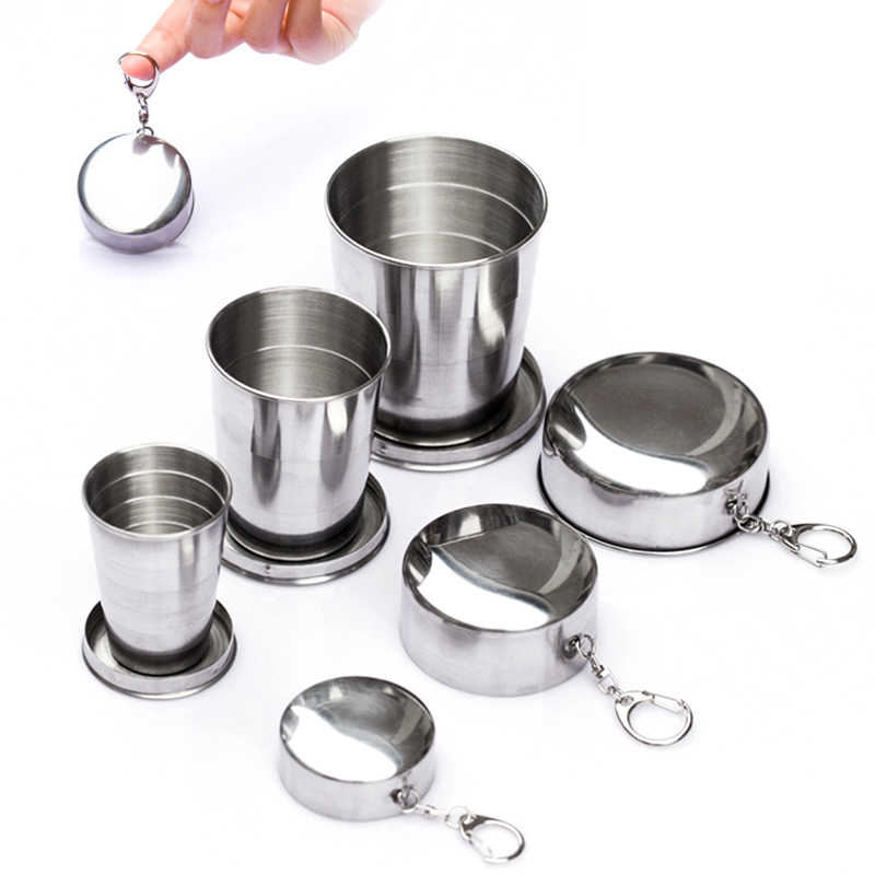 60ml/150ml/250ml 1pcs Stainless Steel Folding Cup Portable Outdoor Travel Camping Telescopic Cup with Keychain Silver