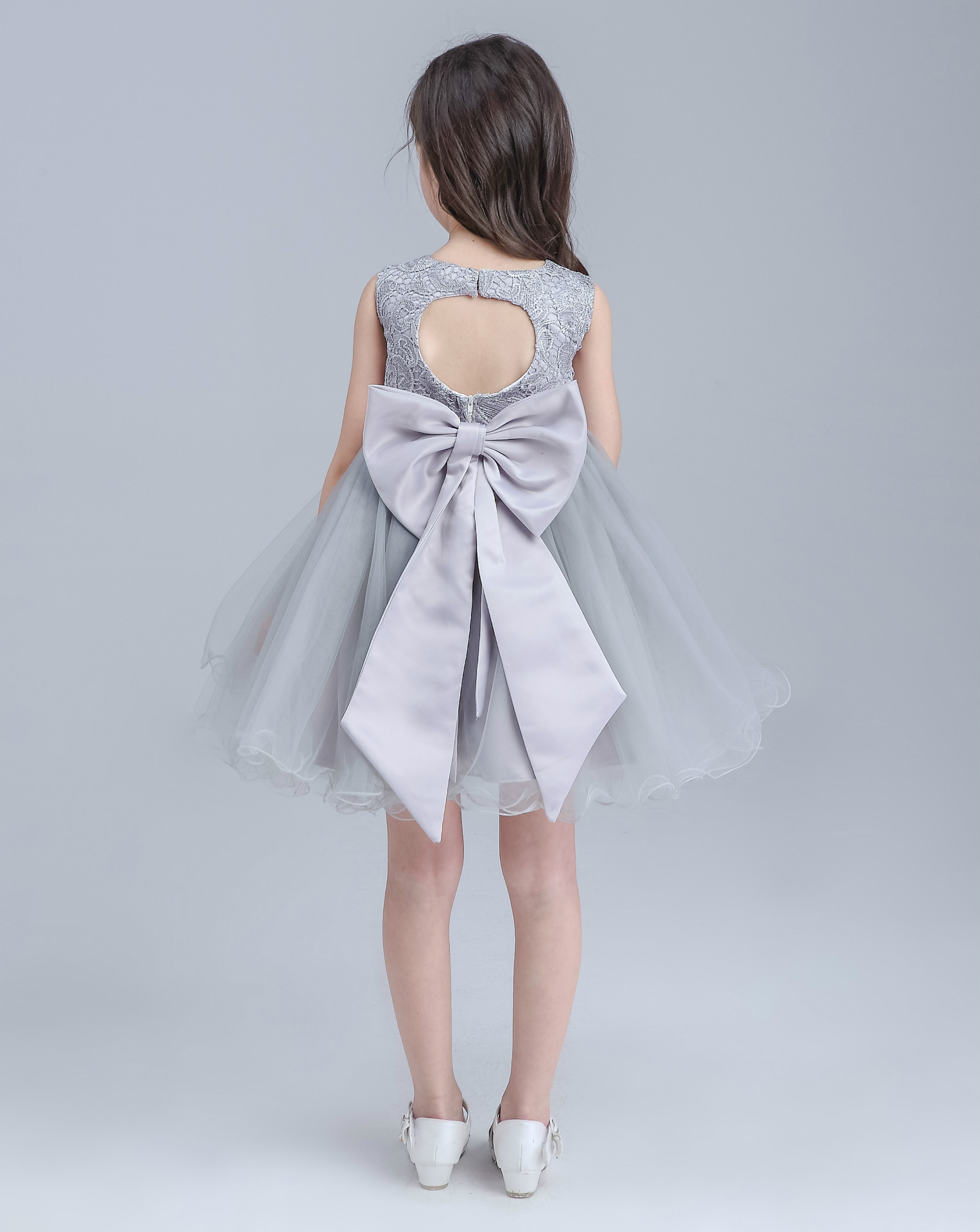 High end Grey Girls Wedding Dress Princess Big Bow Sleeveless ...