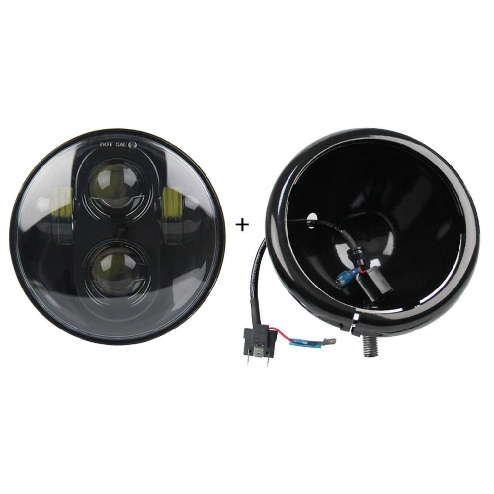 """For Sportster Iron XL 883 5.75"""" 5 3/4 Inch Headlight Light Bucket Housing Trim Ring And Light For Motorcycle 5.75 Inch Headlamp"""