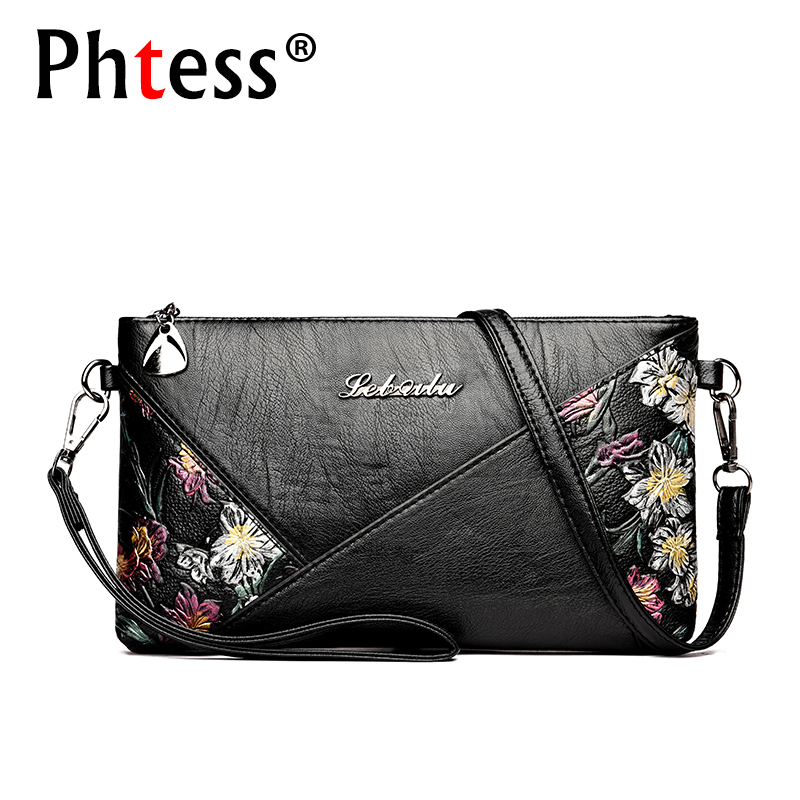 2019 Women Leather Messenger Bags Small Crossbody Bags For Women Sac a Main Flowers Shoulder Bag Female Envelope Bag Clutch Lady
