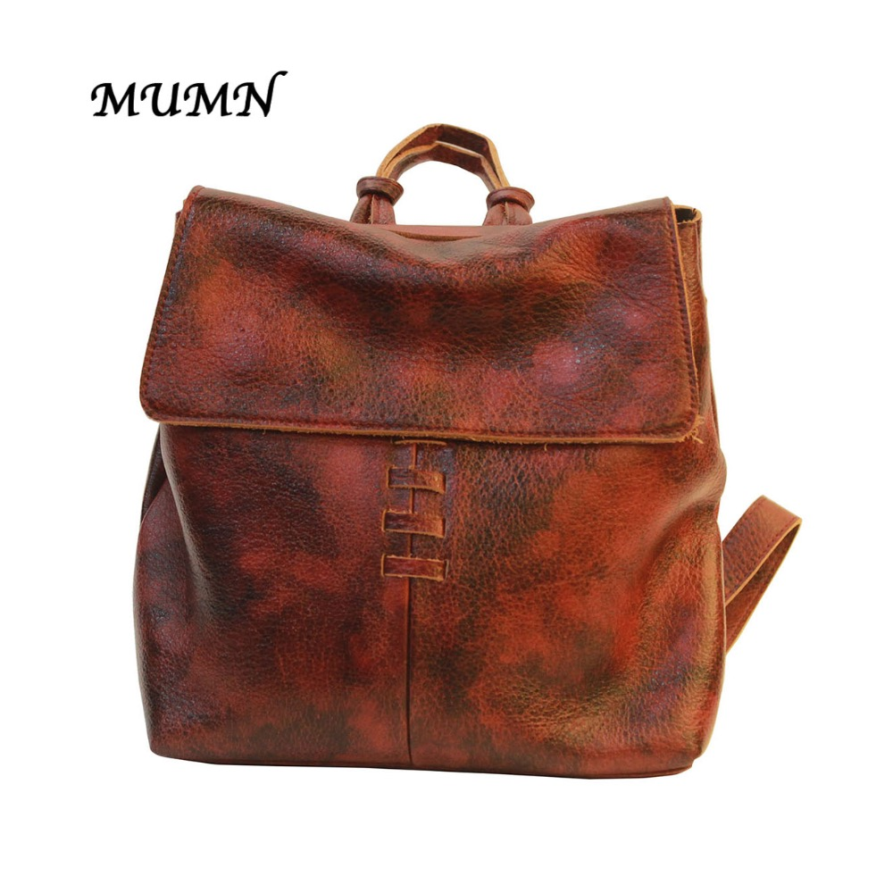Small Bucket Backpack Reddish Brown Cow Genuine Leather  Fashion Style Unique design MUMN 8254 носки средние женские stance retro an teal