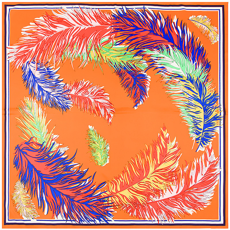 POBING 100% Silk   Scarf   Women Square   Scarves     Wraps   2017 Indian Feather Print Neckerchief Female Foulard Silk Hijab Lady Bufandas