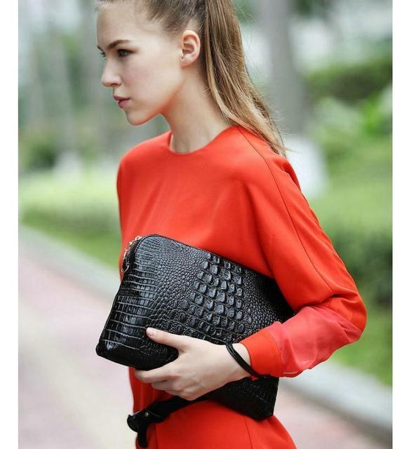 Yogodlns Factory Sale 2017 Genuine Leather Women Clutch Vintage Crocodile Pattern Shoulder Bags Evening Party Messenger Bags