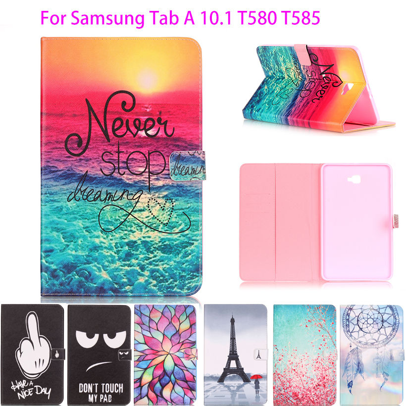 Painted Flip Leather Case For Samsung Galaxy Tab A A6 10.1 2016 T580 T585 T580N Back Cover Cases Tablet Funda Protective Shell все цены