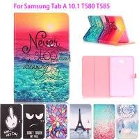 Pintado Caso de Couro Da Aleta Para Samsung Galaxy Tab Um A6 10.1 2016 T580 T585 T580N Voltar Casos de Cobertura de Tablet Escudo Protetor Funda
