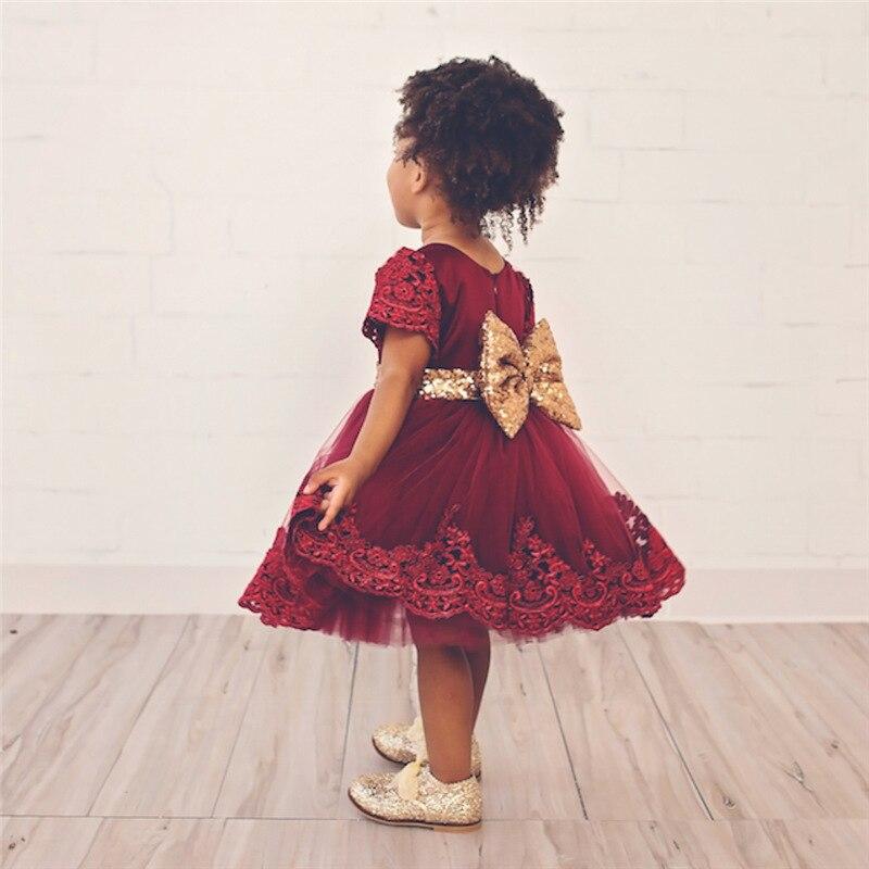 Summer Dress Baby Girls Dress Gold Big Bow Lace Princess party Dresses Kids Dresses For Girls Formal vestidos Children Clothes