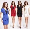 Mulheres Blazer Azul Terno Formal Feminino com Saia e Conjuntos de Jaqueta De Negócios Senhoras De Escritório Salão de Beleza Uniforme Estilos