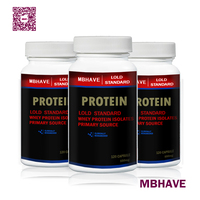 3 Bottles Whey Protein Powder Capsules WPC 80 Fitness Nutrition Supplements Increase Body Muscle