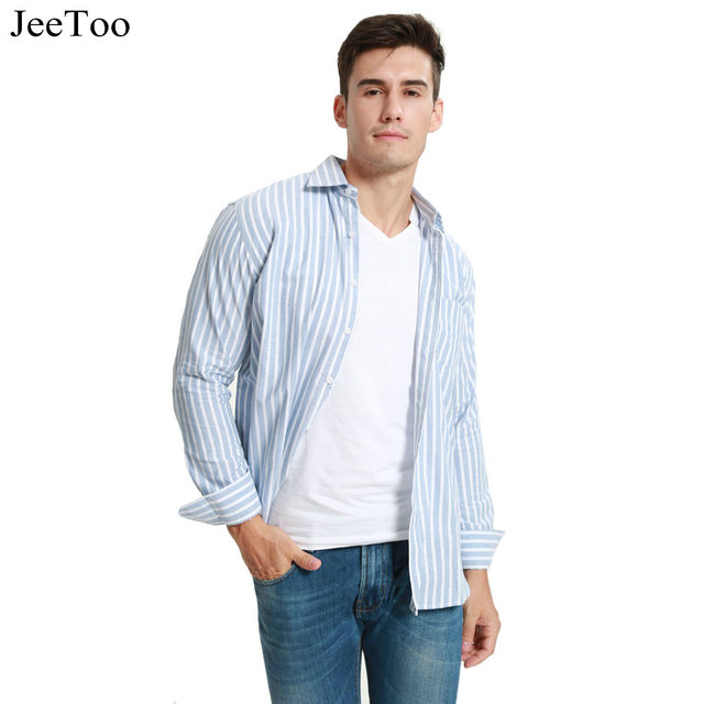 2018 Men Shirts Long Sleeve Mens Casual Dress Shirts Striped Plaid