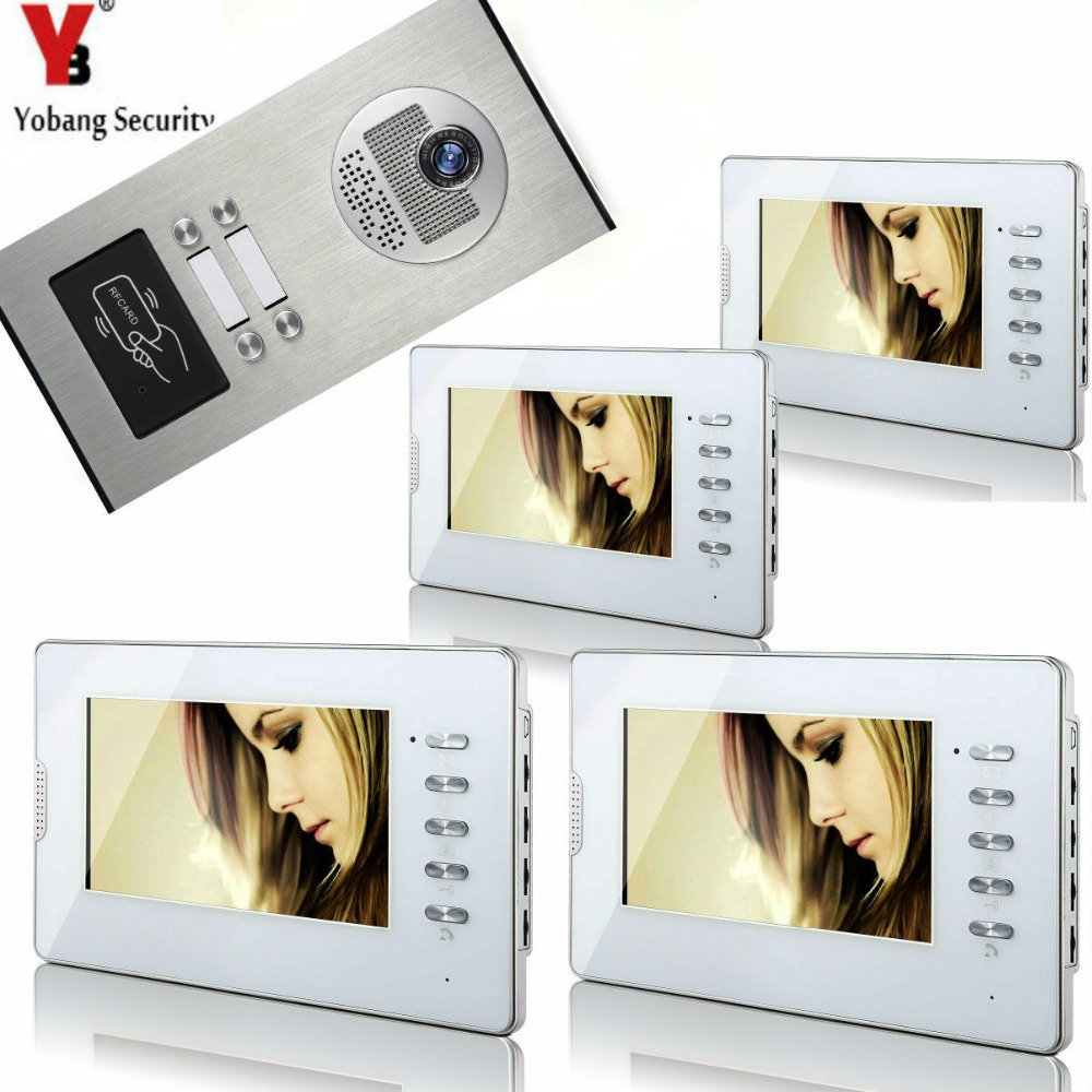 Yobang Security 7 Video Intercom Apartment Door Phone System 3 Monitor+1 Doorbell Camera For 4 House Family RFID Access Control yobang security 7 doorbell intercom system doorphone intercom doorbell camera monitor for villa home door phone door intercom