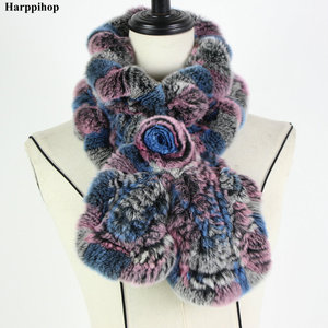 Image 2 - 2018 レックスウサギの毛皮のスカーフファッションネックウォーマー女性リアルファーショールロシア 100% 自然毛皮スカーフラップ冬 * Harppihop