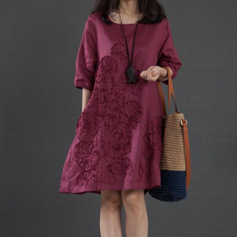 Women Summer Dress Feminino Vestido T Shirt Loose Women Cotton Embroidered Casual Dress Plus Size Ladies Shirt Linen Dress