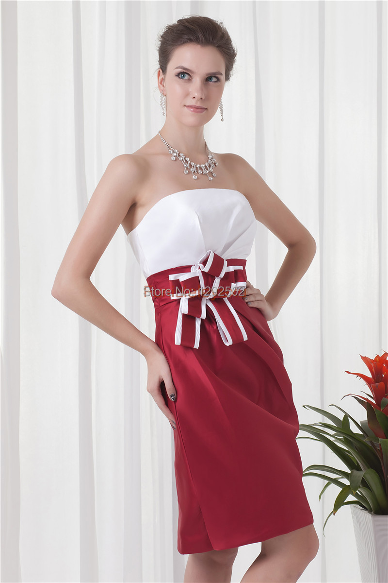 c6ef4029cc Hot Sale Red And White Sheath Strapless Flower Cocktail Party Short Prom  Dresses 2015 Homecoming Dresses Size 2 4 6 8 10 12 16-in Homecoming Dresses  from ...