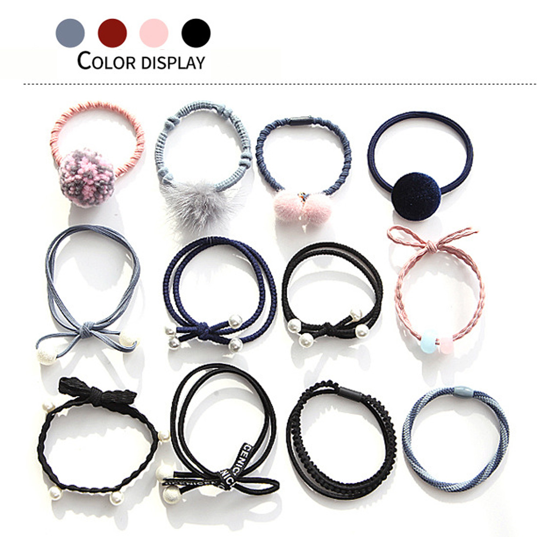 12pcs/set Girls Hairband Hairball Pearl Bow Elastic Rubber Bands Hair Ropes Ponytail Holder Tie Gum Hair Accessories new 10pcs women lady hair band velvet elastic ponytail tie bow rubber bobbles lovely
