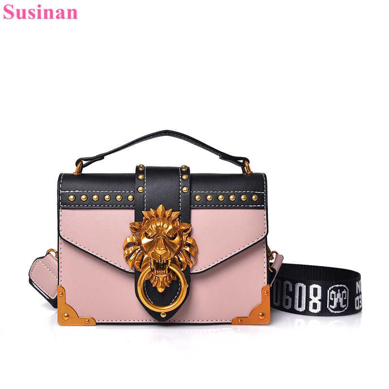 0b7930851747 small leather Female shoulder crossbody bag 2018 pink lion head Ladies red  messenger bags luxury handbags