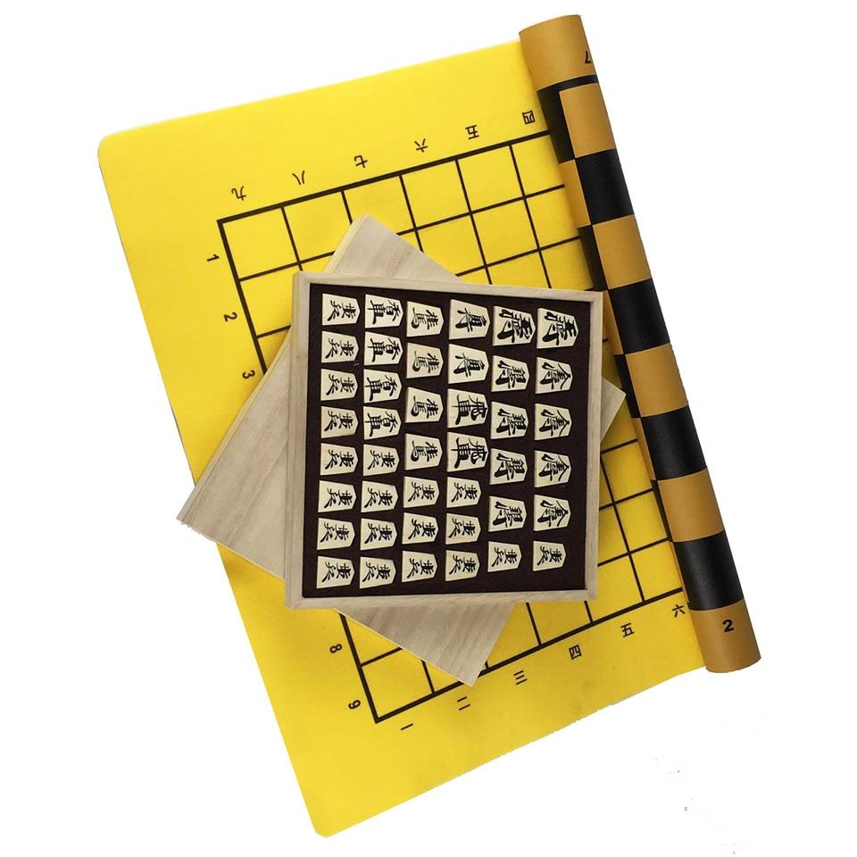 BSTFAMLY Wooden Japan Shogi 40 Pcs Set International Checkers Folding Sho gi Chess Game Table Toy
