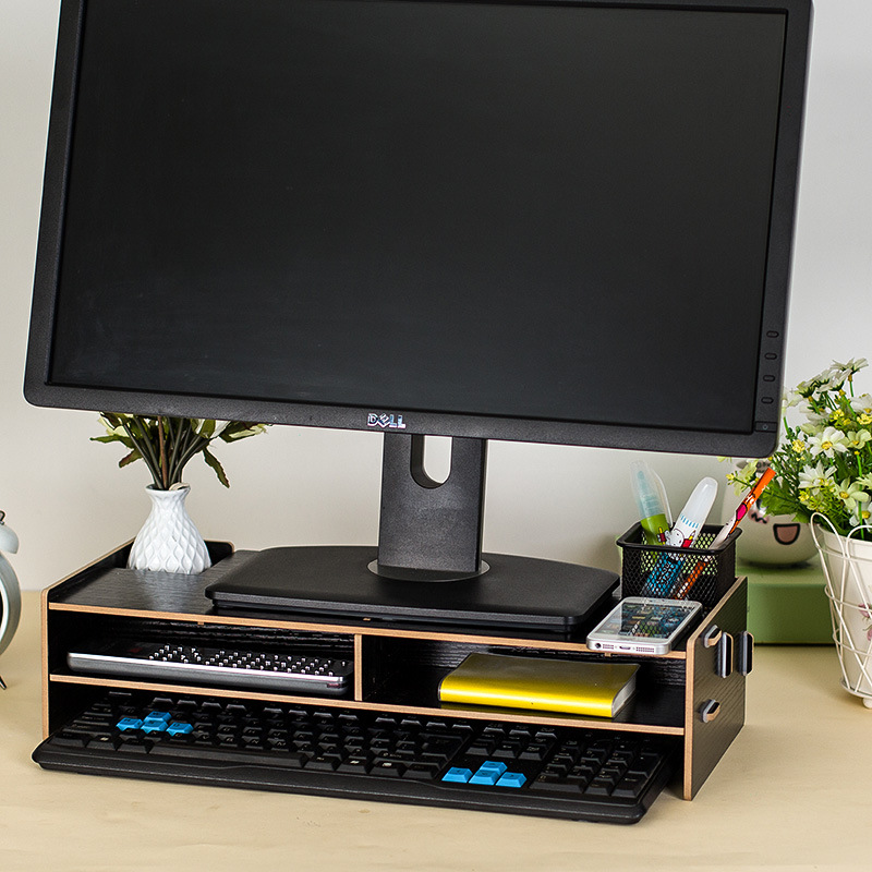 Office Computer Shelves with Drawer Computer Monitor Base Rack Wooden Assembled Laptop Tray 48*20*11.5cm Table Organizer(China)