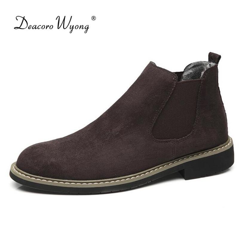 """Britų tendencija normalaus dydžio """"Chelsea"""" batai vyriški """"retro"""" batai """"mados"""" mados kieti pušiniai batai aukštos viršutinės avalynės EUR dydis 39-44"""