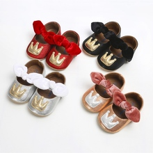 Cute Baby Girl Crown Pattern Anti-Slip Shoes Kids Bowknot Casual Sneak