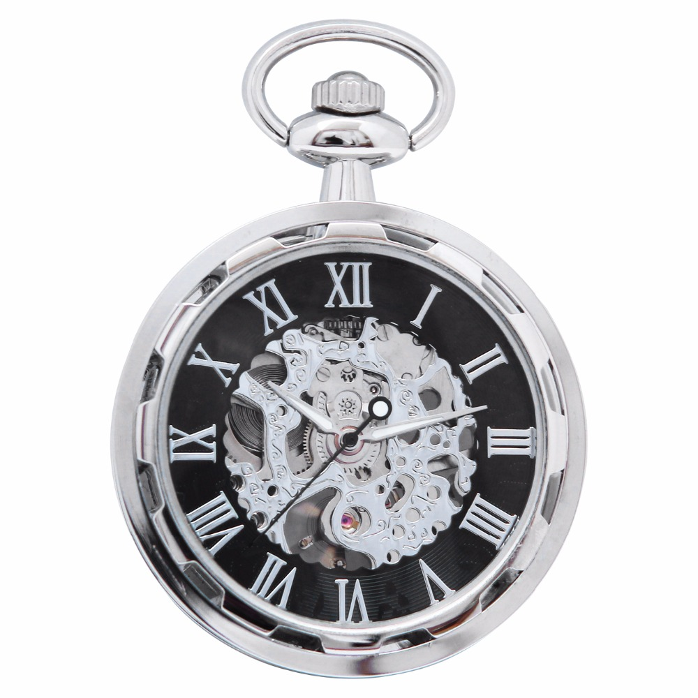 Retro Round Skeleton Hollow Roman Analog Open Face Hand Winding Movement Mechanical Pocket Watch Clock Fob Chain Jewelry /WPK240 retro silver roman numbers skeleton men pocket watch hand winding mechanical fob watches chain vintage double open clock gift