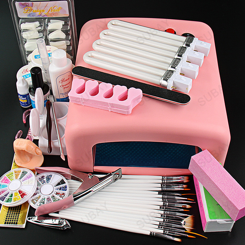 ФОТО Nail art Pro Nail Tools 36W UV GEL Pink Lamp & UV Gel Nail Art Tool Kits Sets Nail tools #563