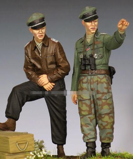 1/35 Resin Kits WWII Soldiers Observed 2pcs/set Not Assembled Uncolored