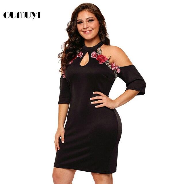 Oumuyi Fashion Party Bodycon Dress Plus Size Rose Applique Cold