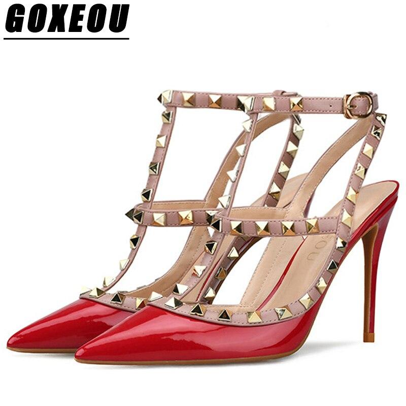 GOXEOU 2018 גבירותיי עקבים גבוהים משאבות נשים עקב גבוהה נעלי אישה מותג בתוספת גודל הבוהן מחודדת נשים משאבות אדום סקסי מזדמן אופנה