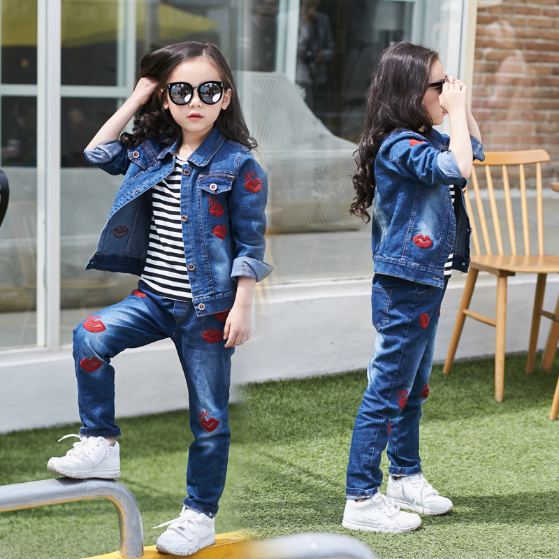 2018 Kids Girl Clothes Outfits Red kiss Sleeve denim Jacket Tops +Denim Jeans Pants Spring Autumn 2pcs set 4 5 6 7 8 9 10  years2018 Kids Girl Clothes Outfits Red kiss Sleeve denim Jacket Tops +Denim Jeans Pants Spring Autumn 2pcs set 4 5 6 7 8 9 10  years