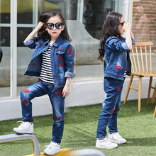 2019 Kids Girl Clothes Outfits Red kiss Sleeve denim Jacket Tops +Denim Jeans Pants Spring Autumn 2pcs set 4 5 6 7 8 9 10  years