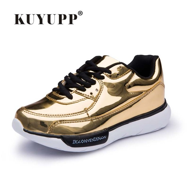Mirror Surface Women 90 Casual Shoes Fashion Spring Lace Up Platform Womens Shoes Low Top Lace Up Trainers Women Gold Shoes YD91