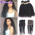 HOT 8A Brazilian Virgin Hair with Closure Kinky Curly Virgin Hair Mink Brazilian Hair Human Hair Bundles Lace Closure Annabelle
