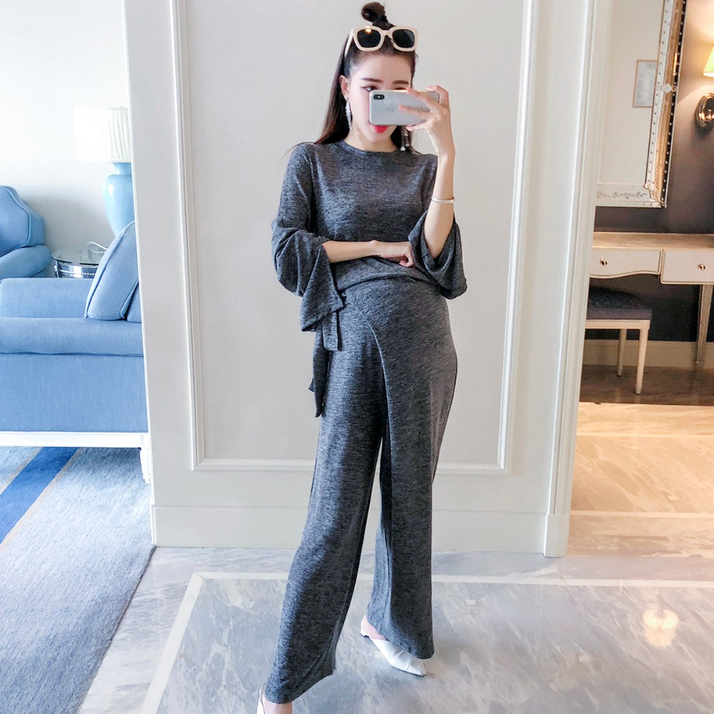 цена на Pregnant women suit 2018 autumn new fashion long-sleeved loose large size maternity dress wide leg pants light board two-piece