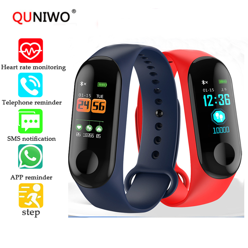 M3plus Fitness Smart Bracelet Color-screen IP68 Waterproof blood pressure Oxygen Monitor Heart Rate Smart band Pk mi band 3 smart watch m19 heart rate fitness bracelet sleep monitor smart tracker blood pressure smart band color screen band pk mi band 3