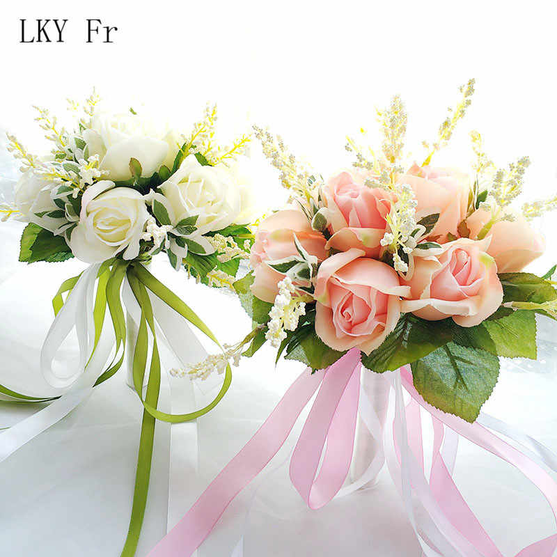 LKY Fr Wedding Bouquet Bridal Bridesmaids Bouquets Holder Silk Roses Artificial Flowers Wedding Bouquet in Pink White Marriage