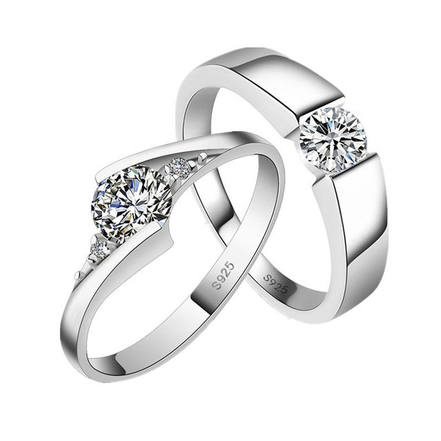 Never Fade Rings 2018 New Fashion Silver Color Jewelry Austrian Crystal Cub Zircon Men Wedding