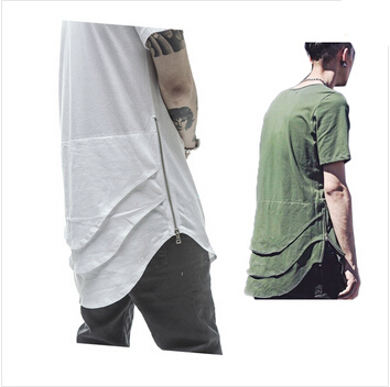 Hiphop Fashion Mens 3 Base Layer Black White Olive Oversized T Shirt Side Zip Swag Clothing: fashion homme style swag