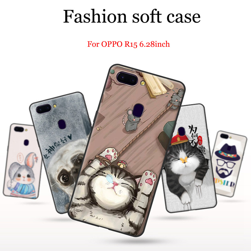 2pcs 6.28inch For OPPO R15 case Cute Cartoon painted Soft shell PACM00 case For OPPO R 15 back cover OPPOR15 cases