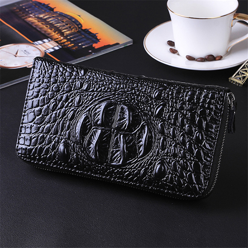 Wallet Male Business-Card-Holder Long Purse Zipper Black Large-Capacity Men Bag