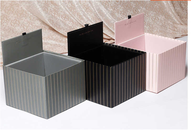 5pcs Square Flower Box Florist Packing Gift Box With Lid Weeding Party Gifts For Guests Flower Bouquet Package 25*25*15CM
