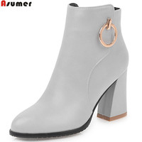 ASUMER Black Gray Red Women Boots Zipper Bling Autumn Winter Ladies Boots Square Heel High Quality