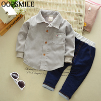 Spring Autumn Baby Boys Gentleman Fashion Clothing Sets Suit Newborn Baby Cotton Shirt Jeans Pants 2pcs