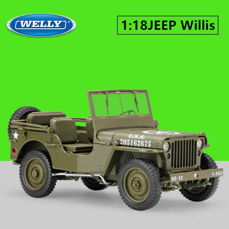 Welly 1:18 Jeep Willis Simulasi Paduan Off-Road Paduan Retro Model Mobil Mobil Klasik Model Mobil Dekorasi Koleksi Hadiah