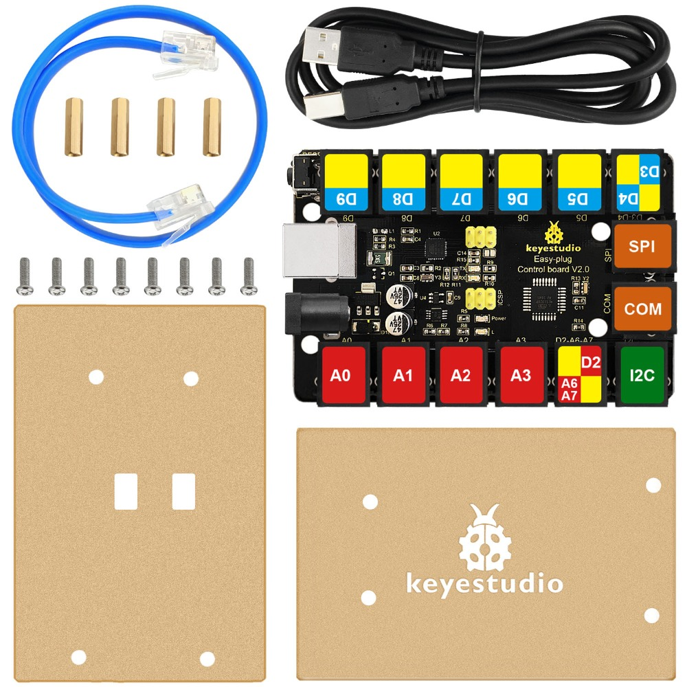 2019 New! Keyestudio RJ11 EASY Plug Main Control Upgrade Board V2.0 Controller +USB Cable for Arduino STEAM-in Integrated Circuits from Electronic Components & Supplies